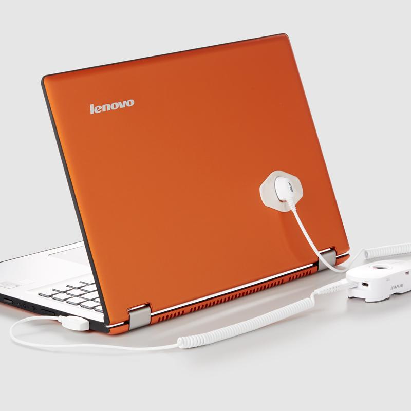 Lenovo が新しい Yoga 製品を発表します。背後では InVue が製品を護ります。